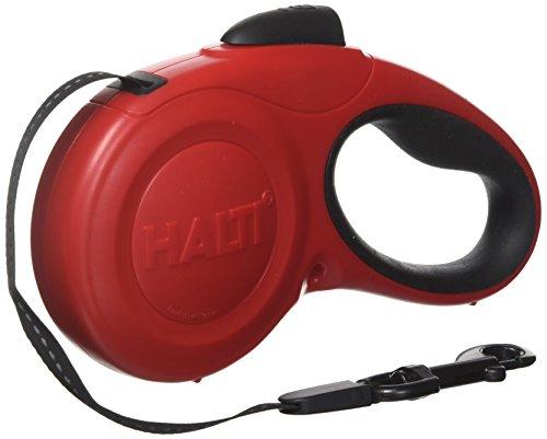 HALTI Roll-Leine, Gurt 5m mit reflektierendem Streifen und ergonomischem Gelgefühl Griff, für Hunde bis maximum 20 kg, Mittelgroß, rot