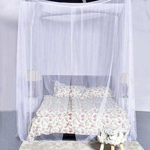 WWZYX Mosquitera 4 esquineros Cama con Dosel Mosquitera para la decoración del Dormitorio de Cama Cama Colgante,Blanco