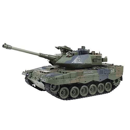 ADLIN Juguetes educativos al aire libre, mini tanque de Rc con cargador USB cable de control remoto del tanque Panzer 1:72 alemán Tiger I con sonido, la torreta giratoria y la acción de retroceso Cuan