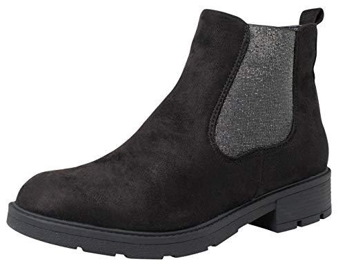 Fitters Footwear That Fits Damen Stiefelette MENA Microfibre Chelsea Boot Metallic Elastik Übergröße (43 EU, schwarz)
