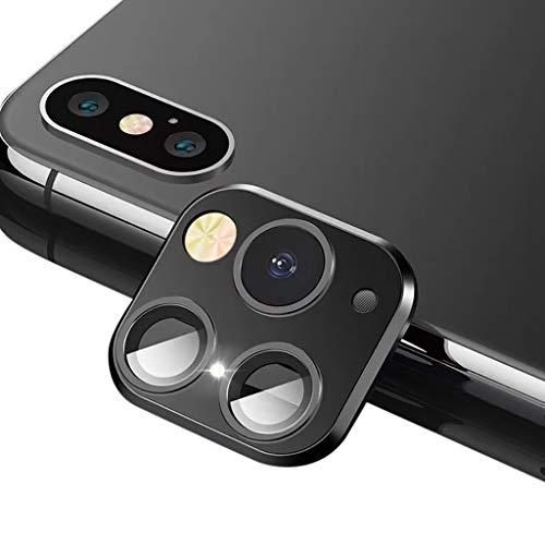 BJJH Metall-Kameraobjektiv-Aufkleber für iPhone X XS MAX, Upgrade der Kamera auf der Rückseite des Telefons HD Lens Protector Seconds Change to 11 Pro Max (Schwarz)