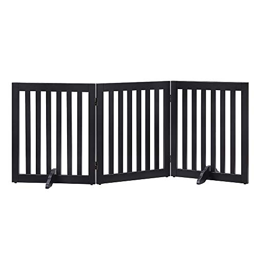unipaws Freestanding Wooden Dog Gate Foldable Pet Gate with Support Feet Dog Barrier Indoor Pet Gate Panels for Stairs Black