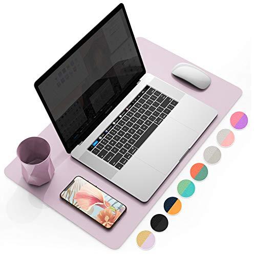 "YSAGi Multifunctional Office Desk Pad, Ultra Thin Waterproof PU Leather Mouse Pad, Dual Use Desk Writing Mat for Office/Home (23.6"" x 13.7"", Grayish Lavendar+Cinnamon Buff)"