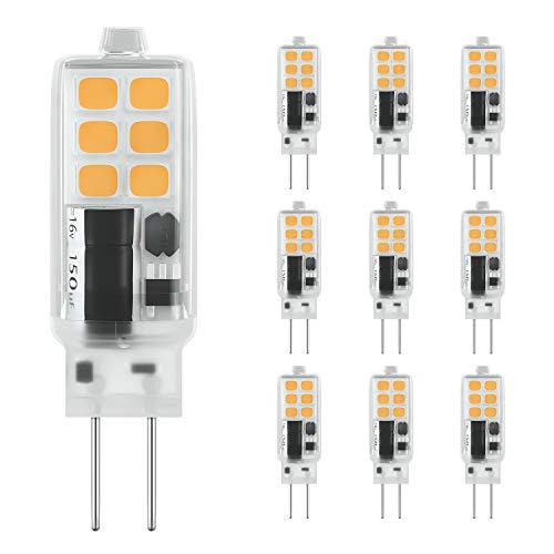 DiCUNO G4 LED Lampadina 10 × 2W 12 * 2835 Sostitutive Alogena 25W, AC/DC 12V, Bianco caldo 3000K, 240LM, Non-dimmerabile, Risparmio energetico