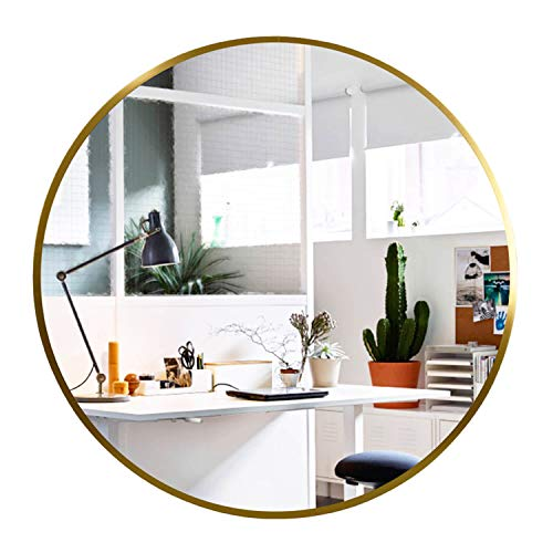 Elevens Wall Round Mirror - Popular 32 Inch Round Wall Mounted Decorative Mirror - Metal Frame, Best for Vanity Washrooms Bathroom and Living Rooms- Gold