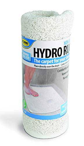 Jobar Non-Slip Grip, Fast Drying Hydro Rug Shower and Bath Mat - Great for Elders and Children (White)