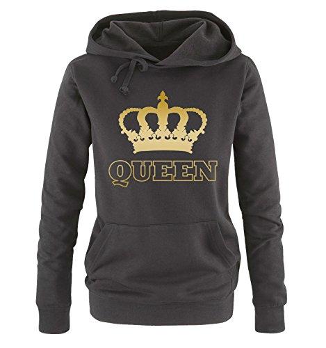 Comedy Shirts - Queen - Krone II - Damen Hoodie - Schwarz/Gold Gr. XXL