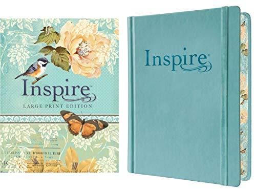 Tyndale NLT Inspire Bible (Large Print, Hardcover, Tranquil Blue): Journaling and Coloring Bible – Over 400 Scripture Illustrations to Color, Creative Bible Journal That Inspires a Connection with God
