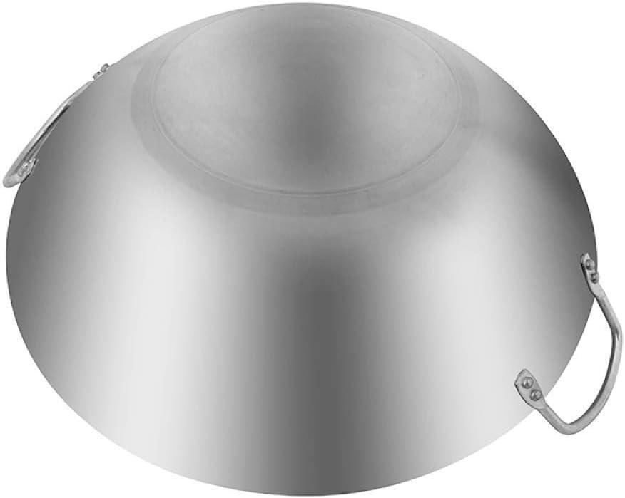AXAA Wok/Casserole en Acier Inoxydable - 32 / 80Cm, Cuisson sans revêtement/antiadhésif, Convient à Toutes Les plaques de Cuisson, y Compris l'induction, 40Cm, 45cm 65cm