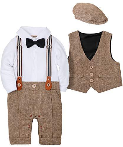 SANMIO Baby Jungen Bekleidung Set, Taufe Junge 3tlg with Fliege + Weste + Hut Gentleman Langarm Anzug Outfit für Festlich Geburtstag Hochzeit,10-13 Monate(Körpergröße 80),Braun