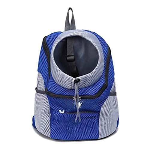 XIAOKUKU Dog Backpack for Hiking, Breathable Comfortable Pet Carrier Backpack Breathable Double Shoulder Dog Pet Bags Backpack Lightweight Carry Bag For Biking Hiking Trip Shopping-blue
