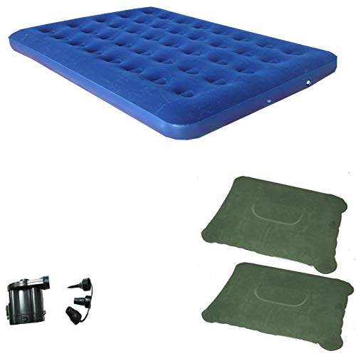 Zaltana Double Size Air Mattress with DC air Pump (Operated by D 4 Cell Battery) & 2 Inflatable Pillow Combo (AMD+APD+PL1x2)