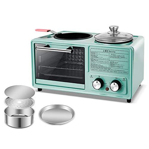 SSZZ Home Multifunktionale Frühstücksmaschine Vier in Einem Gebratenen Braten Automatische Elektrogerät Antihaft Leicht Zu Reinigen,Blau,B