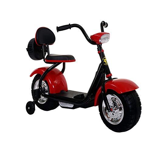 QqHAO De los niños del Coche eléctrico de la Motocicleta Harley eléctrico Triciclo batería de Coche de Coches de Juguete 2-5 años Cochecito,Rojo