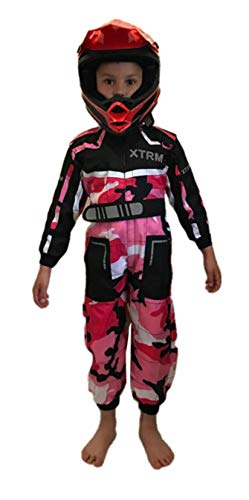 XTRM Junior Motocross Kids Kart Suit Bambino Quad Bike MX off Road Go-Karting Enduro Bambino ATV Sport Tuta Racing One Piece - Colore: Rosa Mimetico. - S