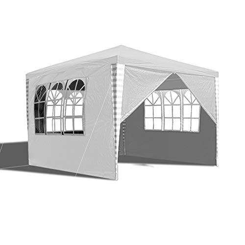 wolketon Pavillon Wasserdicht Gartenpavillon mit Seitenwände Polyethylen Bierzelt Tür mit Reisverschluss für Garten Party Hochzeit (3x3M, Weiß)