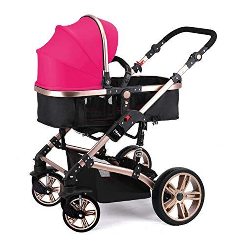 HHGO Opvouwbare 3-in-1 kinderwagen, lichte pasgeborenen kinderwagen, vergrote opbergmand, meervoudig verstelbare parasol, slaapmand kan omgekeerd worden