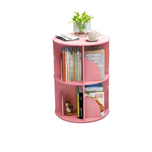 YC electronics Librerie Scaffale Scaffale Girevole Verticale Creativo di 360 °, scaffale di scaffale di Desktop Desktop di Angolo della Stanza dei Bambini Semplice scaffale libreria (Color : Pink)