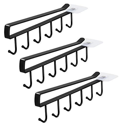 Art Secret - Colgador para tazas (6 ganchos), B- 3 piezas Negro, 1