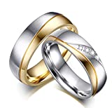 DRG Gioielli Fedine Coppia Acciaio Lui e Lei Fidanzamento Argento Oro satinate FEDI con incisioni Personalizzate Wedding (con Incisioni)
