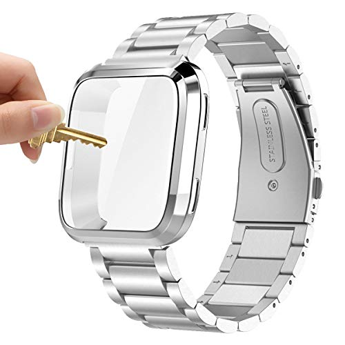 Maxjoy Compatible with Fitbit Versa Bands, Versa 2 Metal Band Large Stainless Steel Bracelet Wristband with Protective Cover Case for Men Women, Compatible with Fitbit Versa 2 1 Smart Watch, Silver