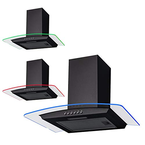 SIA CPLE60BL 60cm Black 3 Colour LED Edge Lit Curved Glass Cooker Hood Extractor
