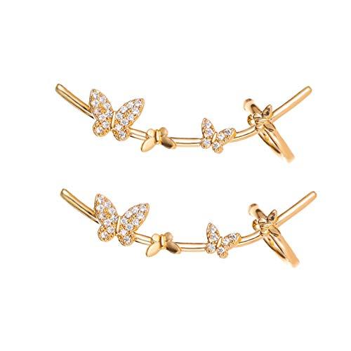 Happyyami Aretes de Mariposas Oreja de Diamantes Pendientes de Enredaderas de Oreja de Cobre...