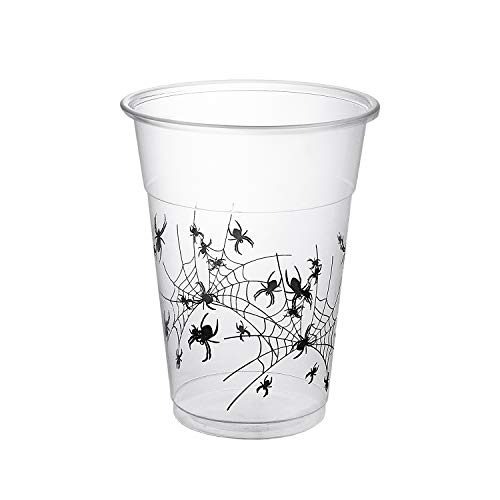Party Essentials Supplies 20-Count Soft Plastic 16-Ounce Halloween Party Cups/Pint Glasses, Spider Print, One size