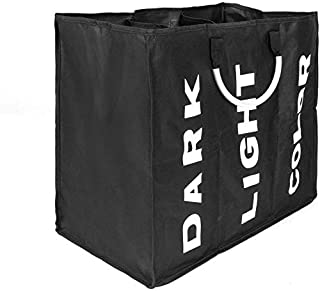 House of Quirk 3 Sections Large Laundry Hamper, Laundry Bag Collapsible, Foldable Fabric Clothes Sorter Storage Bag with Carry Handles 85L (Triple Basket - Black)