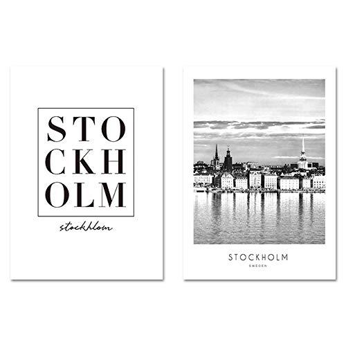 Skandinavische Bilder Stockholm Minimalistische Wandkunst Leinwand Malerei Nordische Plakate und Drucke Wandbild Für Wohnzimmer Dekor 50x70cmx2 ungerahmt