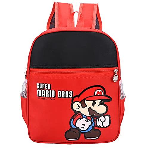 Hilloly Super Mario Mochila, Super Mario mochila de viaje,Mochila Ligera para Niños para Estudiantes de Primaria Infantil para Colegio Viajes, Regalos para Niñas y Niño
