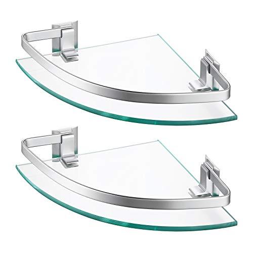 Amazon Brand - Umi Estante de Baño Canasta de Ducha de Esquina Organizador de Almacenamiento Colgante Aluminio Soporte de Pared de 8 MM Vidrio Templado Paquete de 2, A4120A-P2
