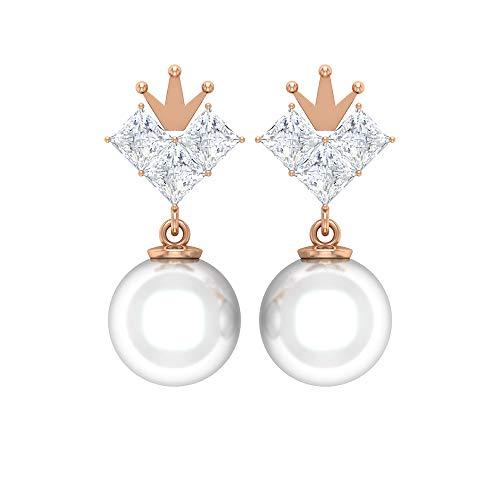 ¿Joyas Rosec? Pendientes de corona con diamante HI-SI 0,78 quilates, 12 quilates 9 mm, pendientes de perlas de agua dulce (calidad AAA), 14K Oro rosa, Par