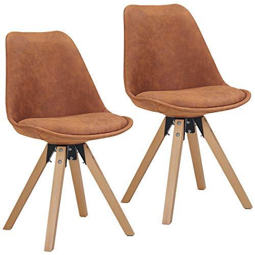 Duhome 2er Set Stuhl Esszimmerstühle Küchenstühle Farbauswahl mit Holzbeinen Sitzkissen Esszimmerstuhl Retro 518M, Farbe:Orange-Braun, Material:Lederoptik