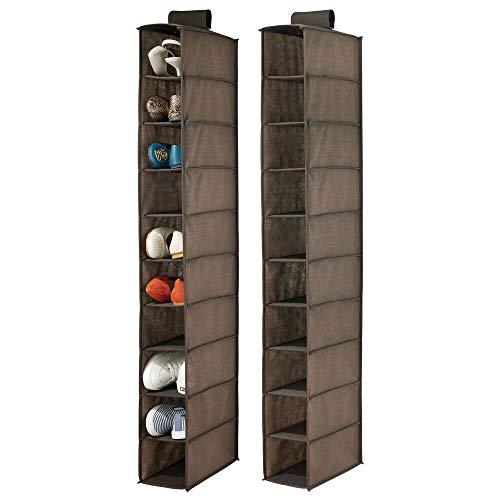 mDesign Juego de 2 muebles zapateros para colgar – Organizador de zapatos para armario con 10 compartimentos – Estanterías para zapatos, bolsos o carteras – marrón espresso