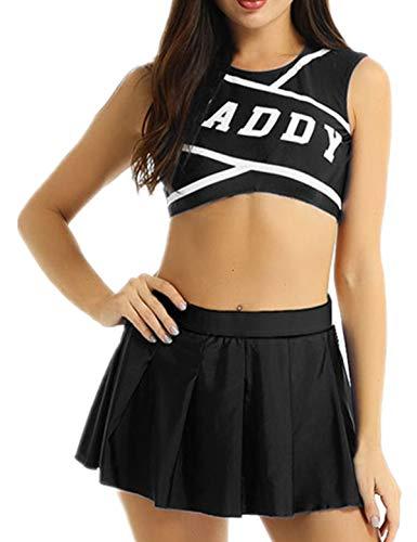 Freebily Damen High School Cheerleading Kostüm Kleid Set Uniform Cosplay Party Outfit Bustier Crop Top Mini Faltenrock Halloween Fasching Kostüm Verkleidung Schwarz Small