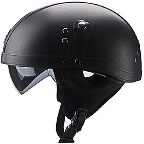 ZHXH Retro Harley Helm/Dot Zertifizierung/Harley Motorrad Halbhelm Mit UV Visier Sommer Herren Und Damen Roller Helm M, L, Xl, Xxl