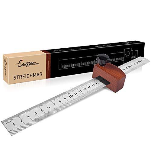 Streichmaß [EG-1] Anschlaglineal Holz, Suzzam Anreisswerkzeug mit extra stabilem 300mm Streichmaß Metall mit Anschlag aus Buchenholz