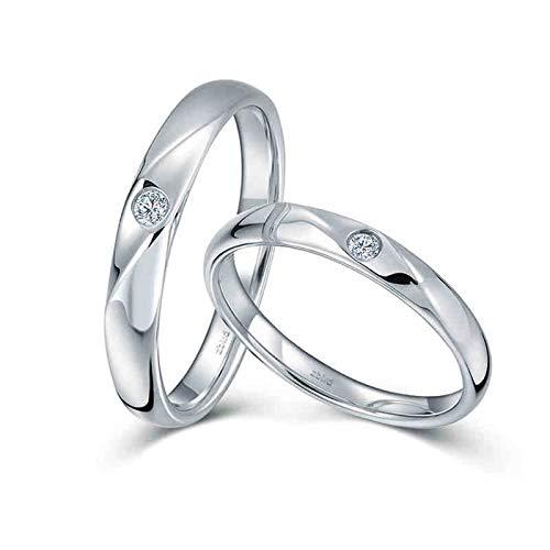 KnSam Anillo Oro Blanco de 18K, Rayas Biseladas Elegante Anillo de Compromiso con Diamante Blanco 0.038ct, Mujer Talla 11 y Hombre Talla 27 (Precio por 2 Anillos)