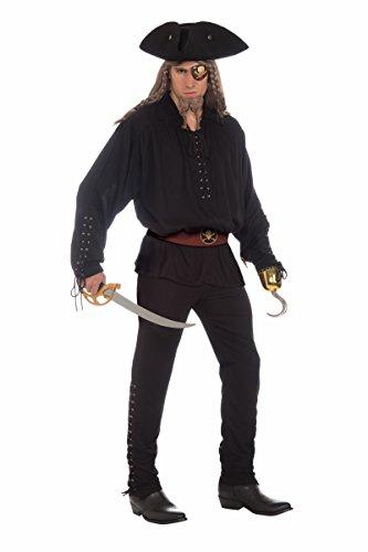 Forum Novelties Men's Buccaneer Costume Pants with Grommets, Black, One Size