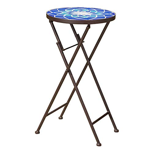 Christopher Knight Home Azure Outdoor Glass Side Table with Iron Frame, Blue / White