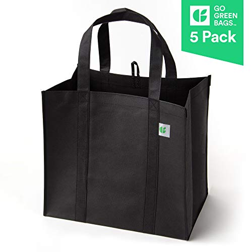 Reusable Grocery Bags (5 Pack, Black) - Hold 40+ lbs - Extra Large & Super Strong, Heavy Duty...