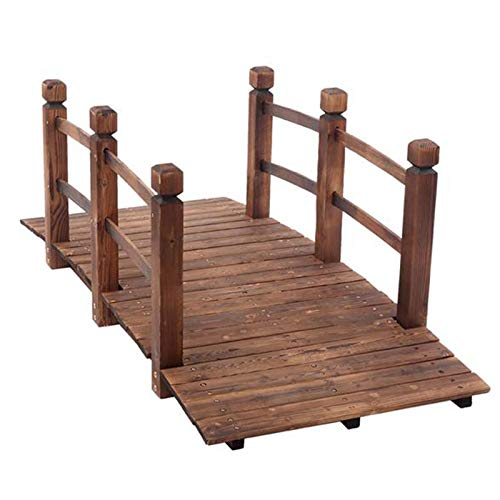 Gartenbrücke aus Holz, 1,5 m, Gartenbrücke mit Schutzgeländern, dekorative Teichbrücke für Hinterhof, Garten Bauernhof, Korrosionsschutz und Feuchtigkeit (braun)