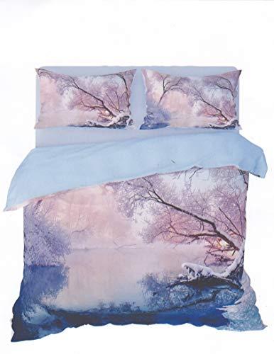 Juego de funda nórdica de 100% algodón con impresión digital para cama de matrimonio de 2 plazas Le poesía de la naturaleza (Frozen 421)