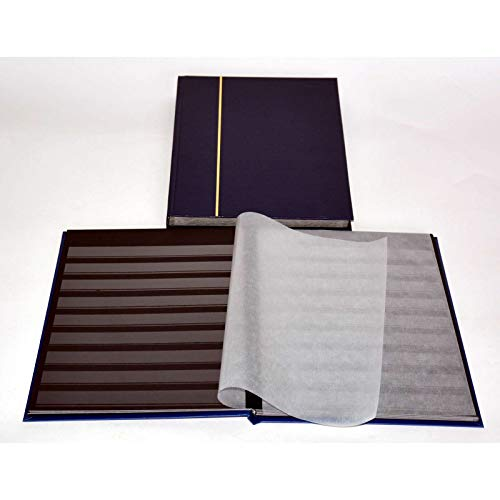 Goldhahn 32 Schwarze Seiten A4 Briefmarkenalbum, Einsteckbuch, blau, mit Klarsichtstreifen Briefmarken für Sammler