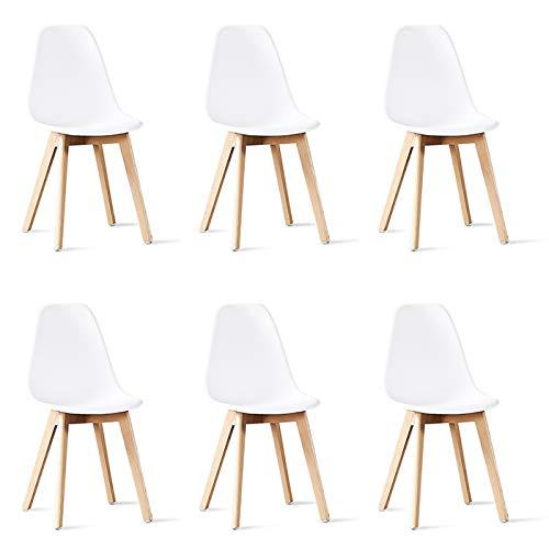 Designetsamaison Lot de 6 chaises scandinaves Blanches - Onir