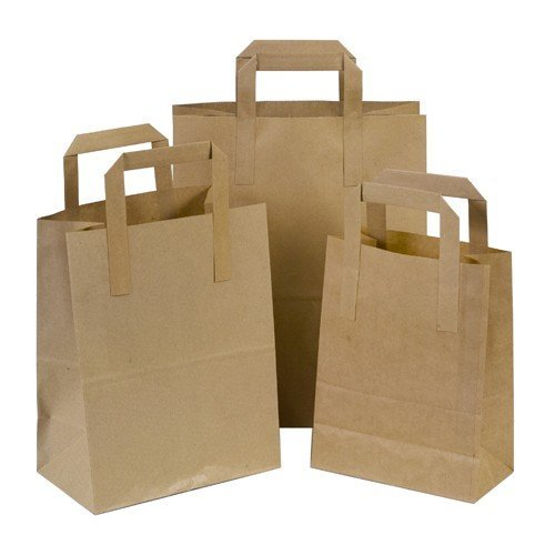 Thali Outlet - 250 x Brown Small SOS Kraft Paper Bags - Tape Handle Carrier For Indian Chinese Takeaways by Thali Outlet Leeds