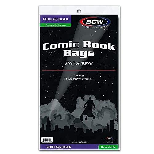 BCW Resealable Silver/Regular Comic Book Bags, Clear 2-mil Polypropylene   7-1/8 x 10-1/2   100-Count