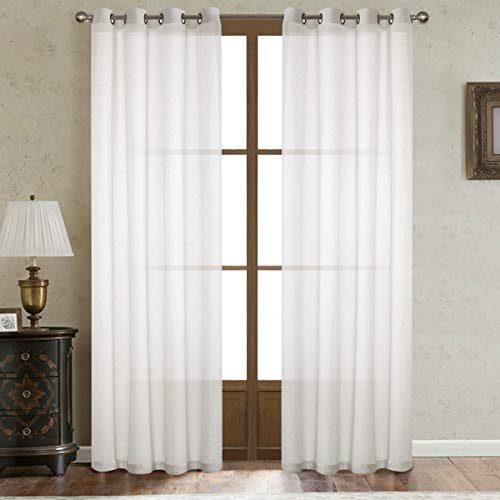 Dreaming Casa White Linen Sheer Curtains for Bedroom Solid Semi Sheer Grommet Top Two Panels for Living Room 2 Panels 52''W x 96''L
