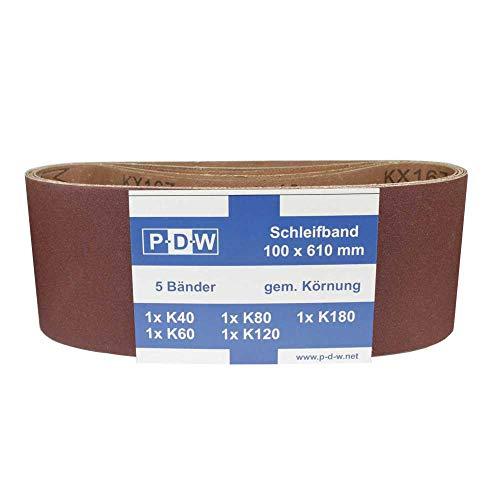 10 nastri abrasivi P-D-W 100 x 610 mm, set di nastri abrasivi diversi. Grana K40/K60/K80/K120/K180 per smerigliatrice a nastro
